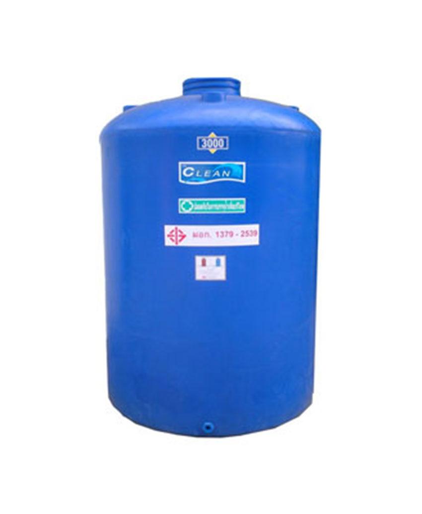 ถังน้ำ PE สีฟ้า ทรงกระบอกมีลอน รุ่น Clean